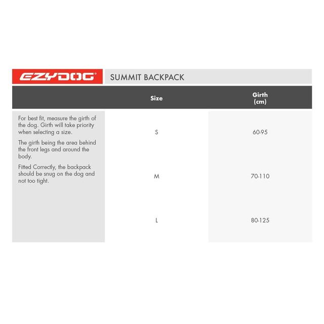 EzyDog Backpack Size Chart
