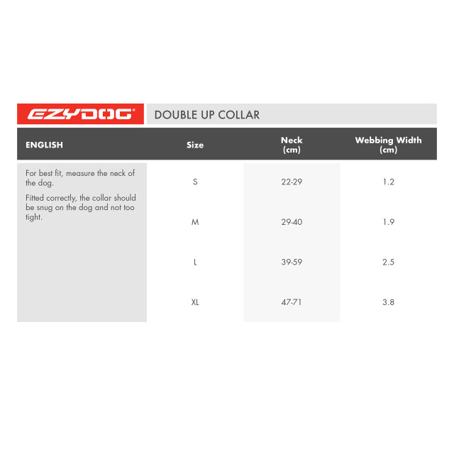 Double Up Collar - Size Chart