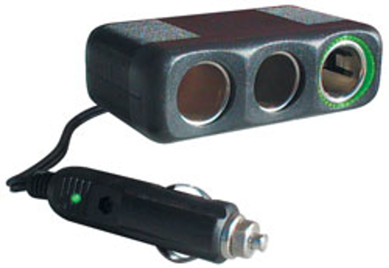"""RoadPro - 12-Volt 3 Outlet Fused Cigarette Lighter Adapter with 30"""" Cord"""