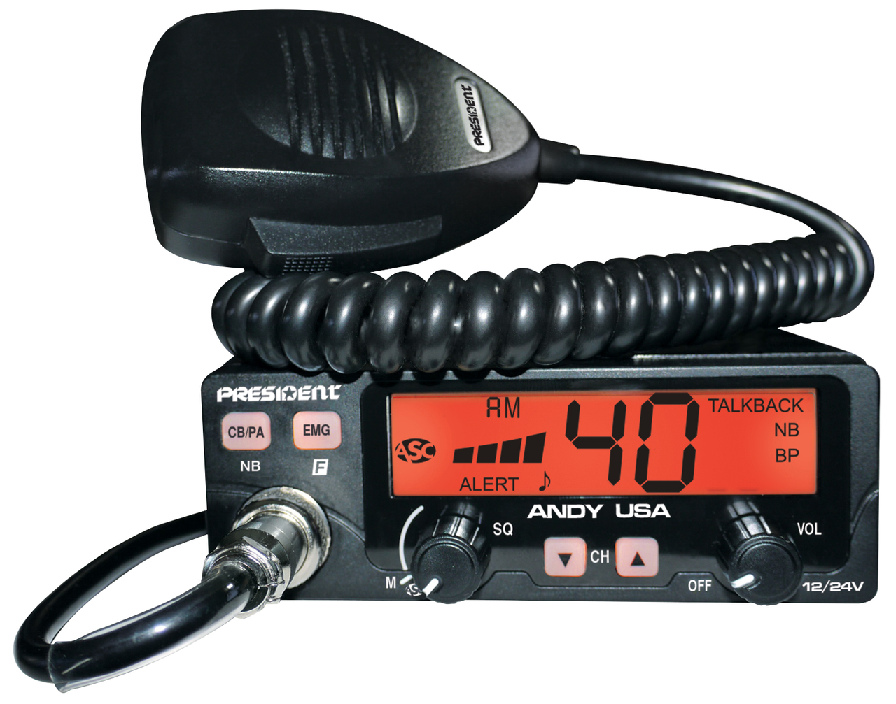 President ANDY USA - 12/24V CB Radio