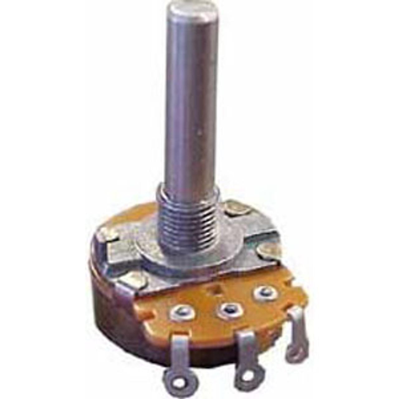 Potentiometer - 10K Linear Taper - 16MM -With Switch Linear taper with switch Solder lug terminals Max voltage: 150 VAC Audio 200 VAC Power rating: Linear 200mA, .2W Audio 100 mA, .1W Switch Rating 1.0 A @ 125V  AC/DC Bushing diameter 7 mm Shaft 30mm w/flat 12mm, 6mm OD