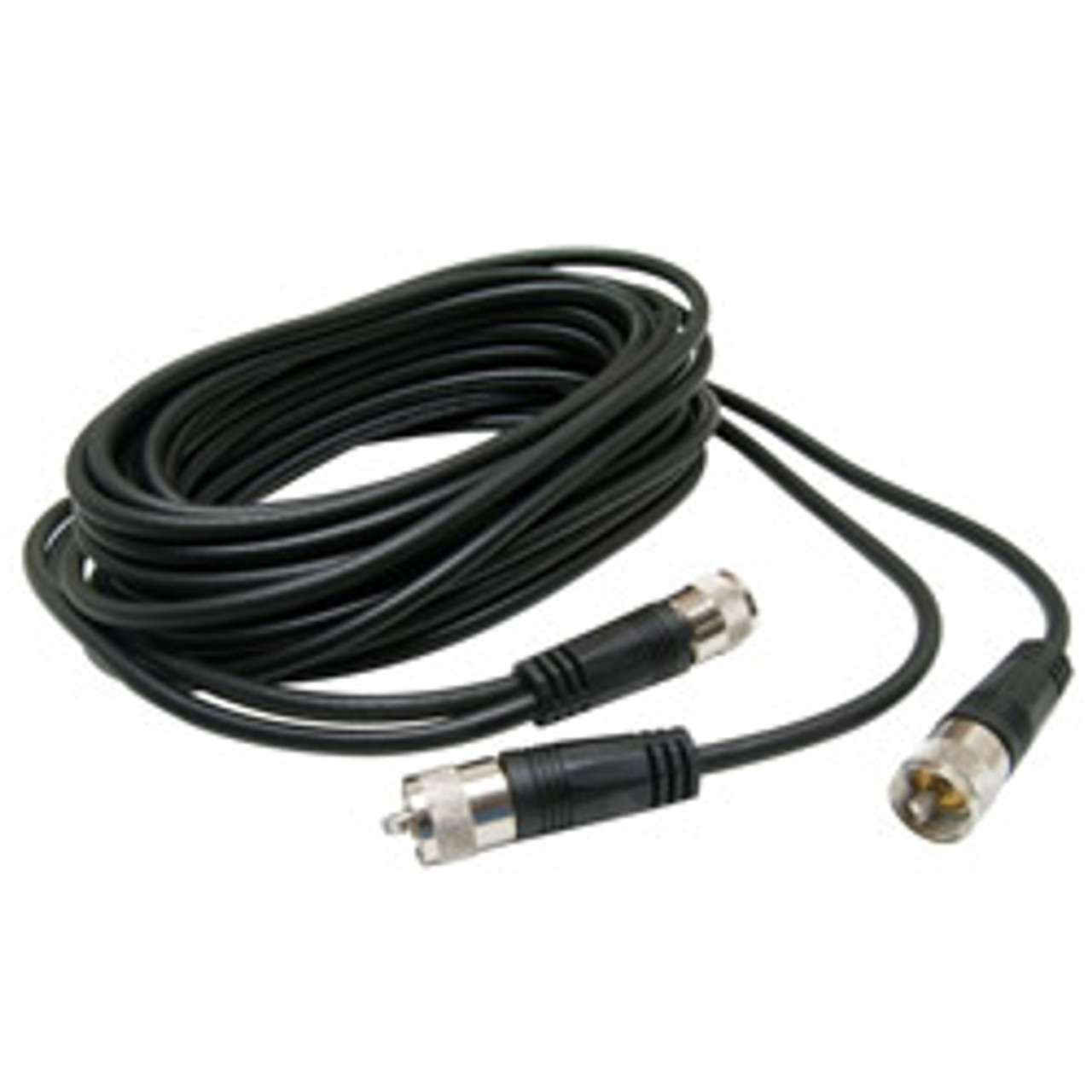 RoadPro(R) - 18' CB Antenna Co-Phase Coax Cable with (3) PL-259 Connectors, Black