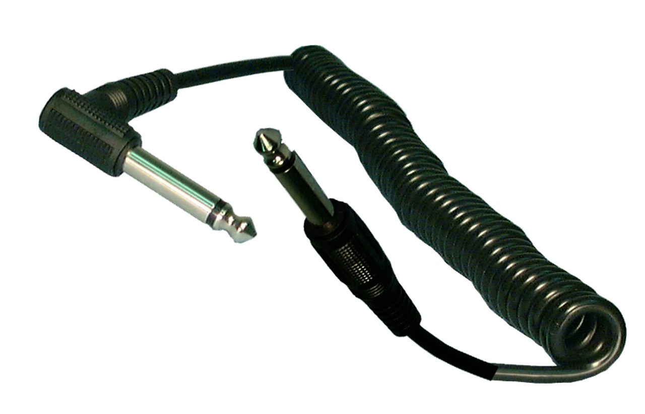 """1/4"""" Right Angle to 1/4"""" Male to Male Mono Cable - 25 Feet"""