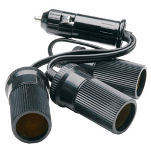 RoadPro - 12-Volt 3 Outlet Cigarette Lighter Adapter with Short Cord