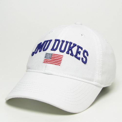 JMU DUKES White EZA Hat with American Flag