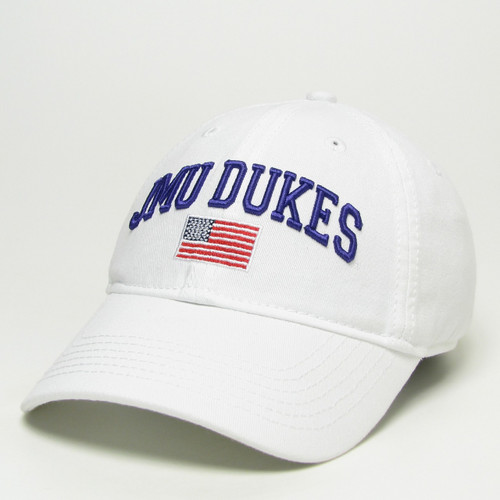 JMU DUKES White EZA Hat with American Flag