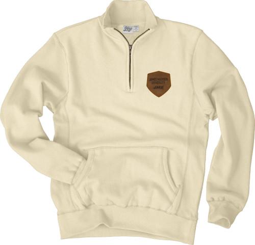 Zip Cadet Sandy Fleece with leather patch 1/4 Zip