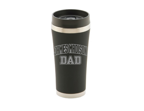 Black JV Travel Cup with Dad Design in Silver