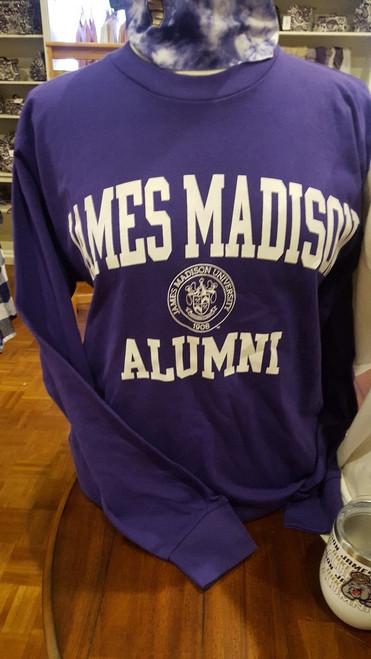 James Madison Alumni Crest Long Sleeve Purple T-shirt