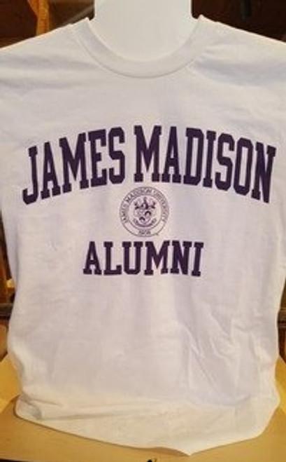 James Madison Alumni with Crest White T-shirt