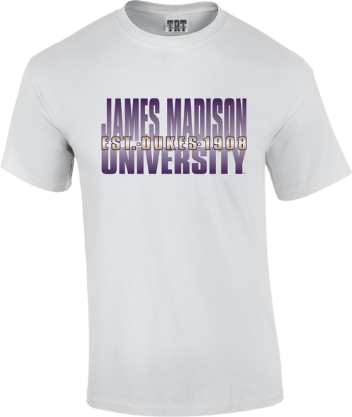 C20 - White T-shirt with James Madison University Ombre