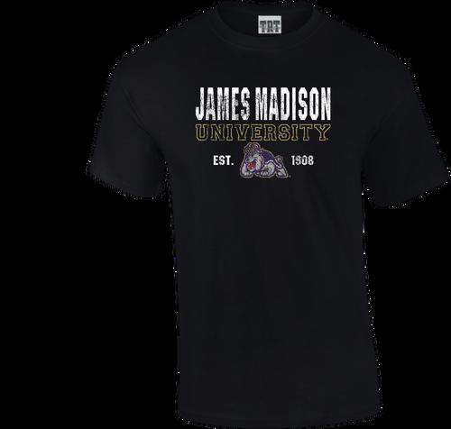 C20 - Black T-shirt with James Madison w/Duke Dog