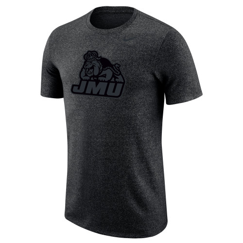 NIKE - - Black Heather Marled SS Tee w/Tonal JMU Duke Dog