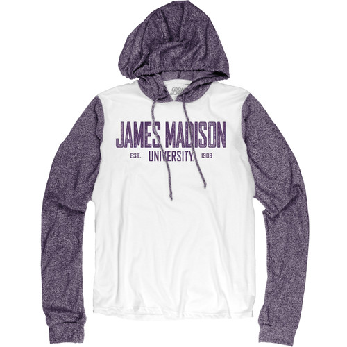 Contrast Long Sleeve T-shirt Purple/White Hooded