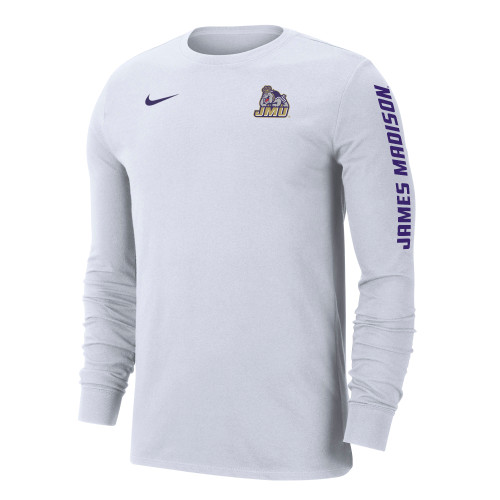 NIKE Dri-Fit Cotton Long Sleeve James Madison on Sleeve - White