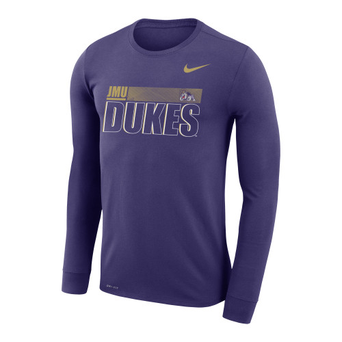 Sideline 20 Legend L/S - JMU Dukes w/Full Duke Dog Purple