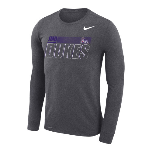 Sideline 20 Legend L/S - JMU Dukes w/Full Duke Dog Gray