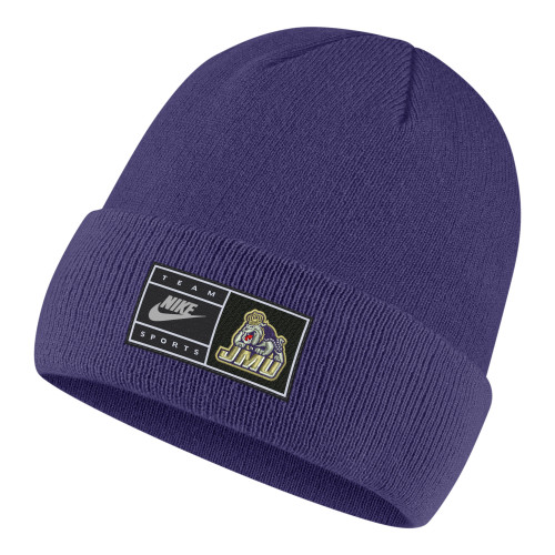 Nike Cuffed Beanie with Patch - Purple