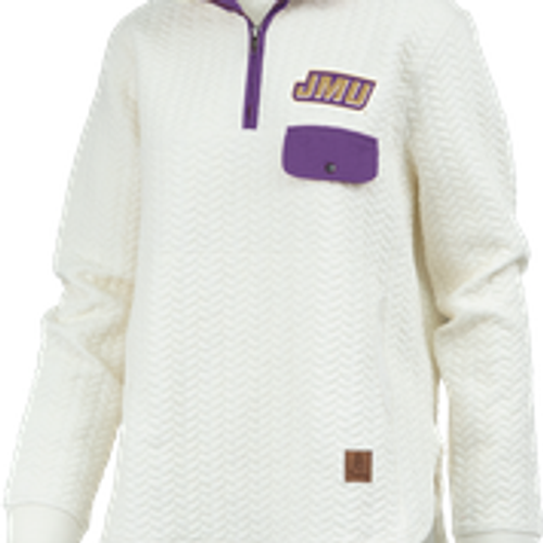 JMU Logo on Whited Quilted 1/4 Zip w/faux pocket