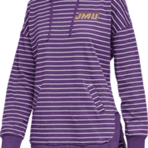 JMU Logo on Purple with White striped Hooded Longsleeve Shirt