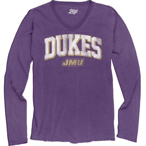 B84 Long sleeve Garment Dyed V-Neck Shirt with DUKES