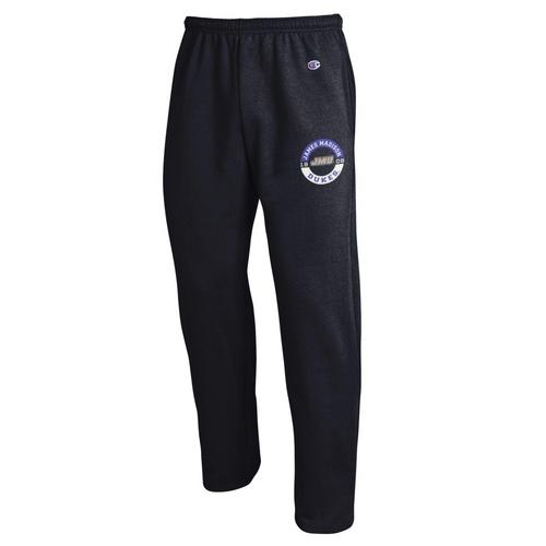 Champion Open Bottom Black Sweatpants Left Pocket