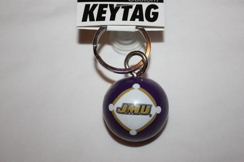 Purple/Gold Polka Dots Ball Keytag