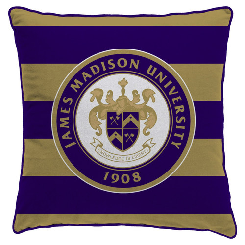 Sprit Throw Pillow with JMU Crest 22x22