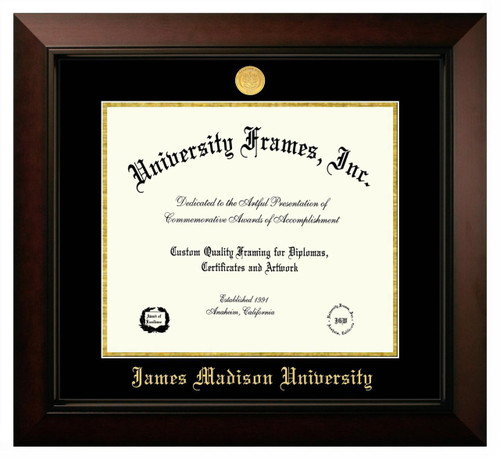 JMU Legacy Diploma Frame with Gold Medallion SPECIAL ORDER ONLY