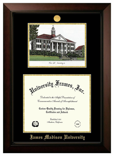 JMU Double Opening Legacy Diploma Frame with Gold Medallion
