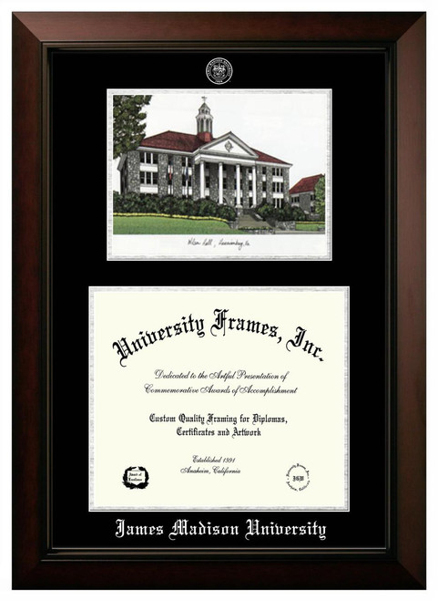 JMU Double Opening Legacy Diploma Frame with Silver Foil