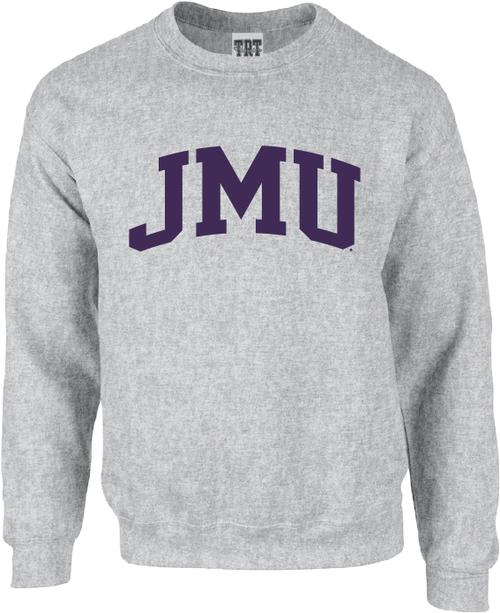 JMU Arch 1-color Gray Crewneck