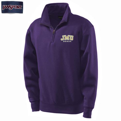 Blue 84 Left Chest JMU Twill 1/4 Zip in Purple