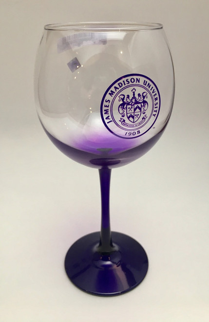 Purple Frosted Red Wine Glass with JMU Seal
