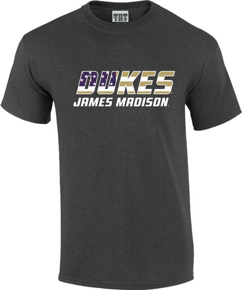 JMU Purple Gold and White DUKES Flag T-shirt