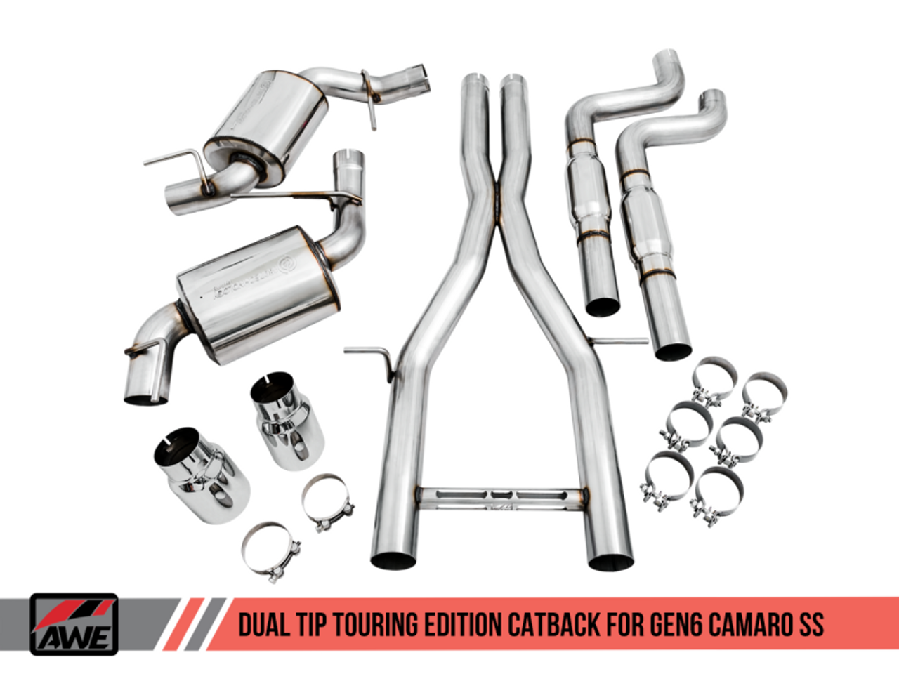Camaro SS Touring Edition Cat-Back Kit, Dual Exhaust Non-Resonated  - AWE Tuning