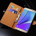 Blue Premium Genuine Leather Wallet Case for Samsung Galaxy Note 5 - 3