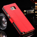 Red Real Leather Wallet Card Holder Flip Case For Galaxy Note 5 - 2