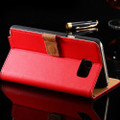 Red Real Leather Wallet Card Holder Flip Case For Galaxy Note 5 - 4