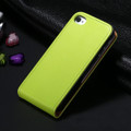 Green Genuine Leather Flip Case For Apple iPhone 4 / 4S - 2