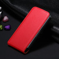 Red Genuine Leather Flip Case For Apple iPhone 4 / 4S - 1