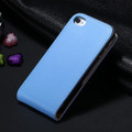 Blue Genuine Leather Flip Case For Apple iPhone 4 / 4S - 2