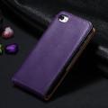 Purple Genuine Leather Flip Case For Apple iPhone 4 / 4S - 2