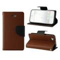 Brown / Black Diary Wallet Gel Inner Case For Apple iPhone 5C