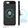Black 360 Degree Ring Stand Magnetic Armor Case for iPhone 7 / 8 - 2