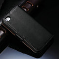 Black Genuine Leather Wallet Case for Apple iPhone 4 / 4S - 2