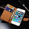 Black Genuine Leather Wallet Case for Apple iPhone 4 / 4S - 4