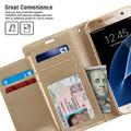 Stylish Galaxy S7 edge Genuine Mercury Rich Diary Wallet Case - Gold - 4