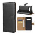 Black Genuine Leather Business Wallet Case  For Galaxy S10 5G - 6