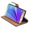 Brown Genuine Leather Wallet Case For Samsung Galaxy Note 5 - 3